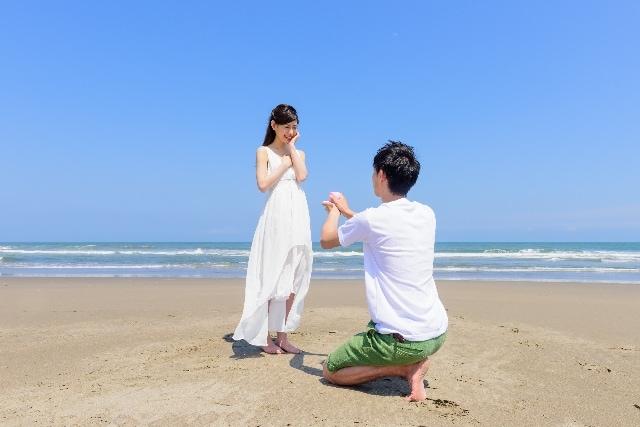 彼女の前でひざまずいてプロポーズのイメージ